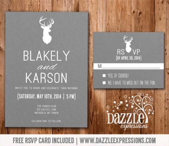 modern white and gray deer wedding invitation rsvp card included Wedding Invitation And Rsvp Packages