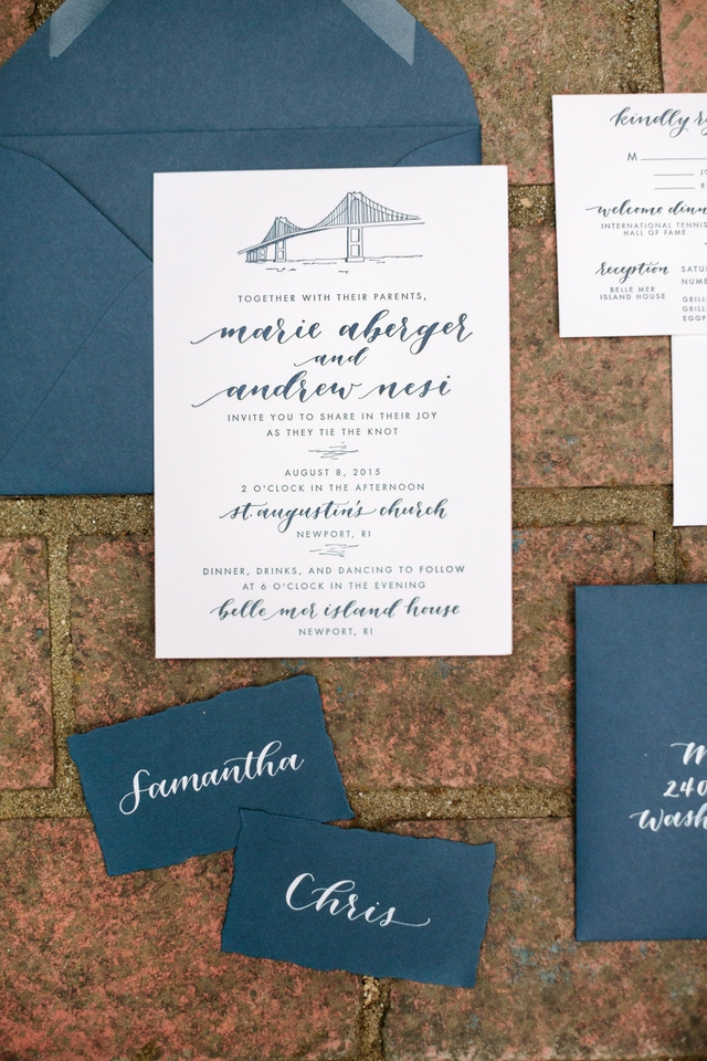 navy and white calligraphy wedding invitations Brown And Blue Wedding Invitations