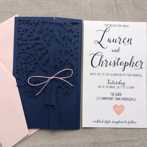 navy blue and pink fresh tree laser cut wedding invitations elegant wedding invitations springsummer wlc013 Pink And Blue Wedding Invitations