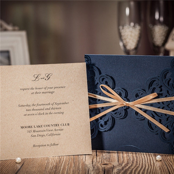 navy blue laser cut wedding invitations with champagne gold Brown And Blue Wedding Invitations
