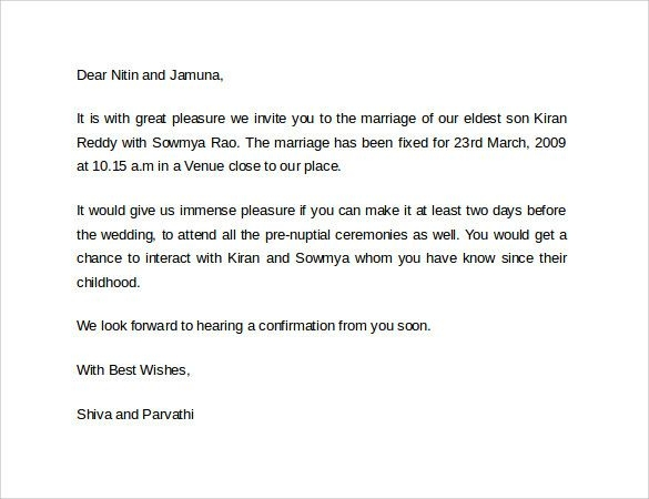 official marriage invitation letter format wedding Wedding Invitation Letter