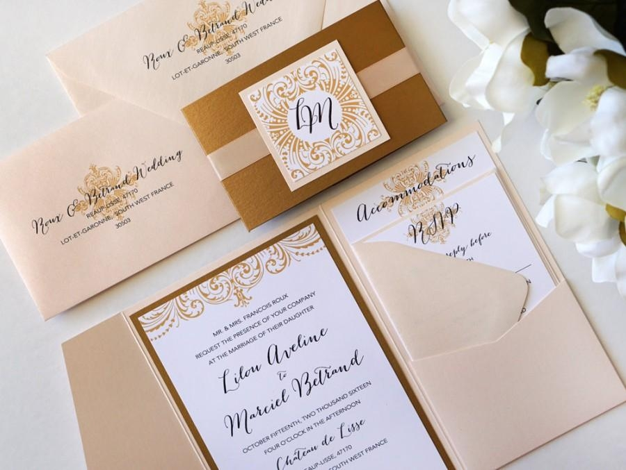 ornate elegance blush and antique gold pocket folder style Wedding Invitations With Pockets Folders