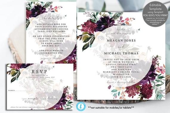 plum floral wedding invitation template editable wedding invitation set printable wedding invitations square invitation templett 5x5 Wedding Invitation Templets