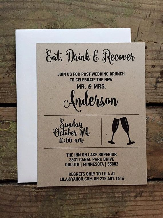 post wedding brunch invitation rustic and simple eat Post Wedding Dinner Invitation Wording