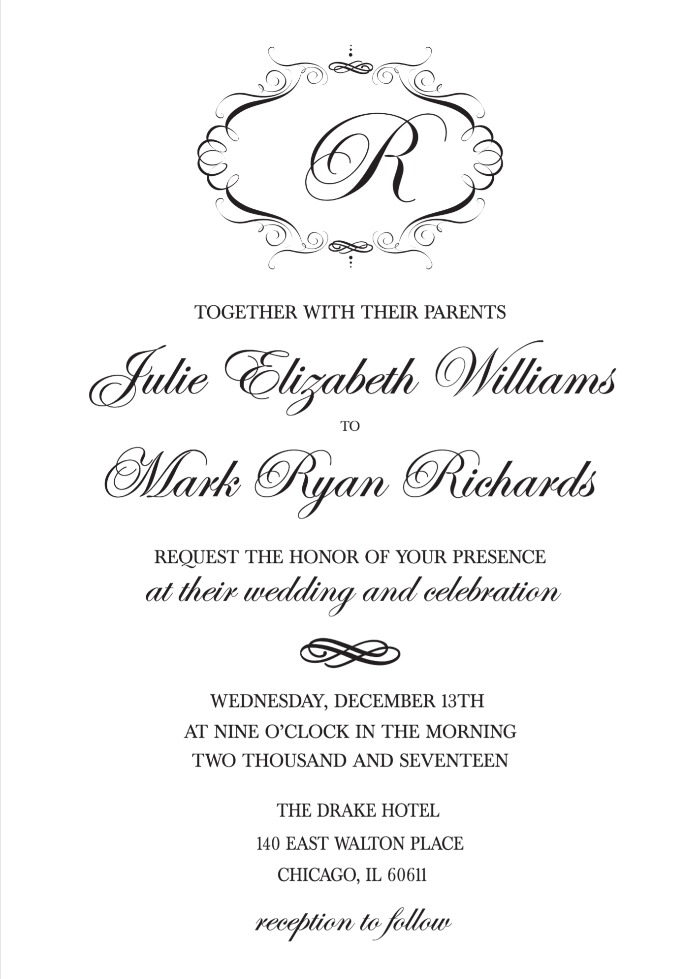 print elegant monogram free printable wedding invitations Printable Wedding Invite