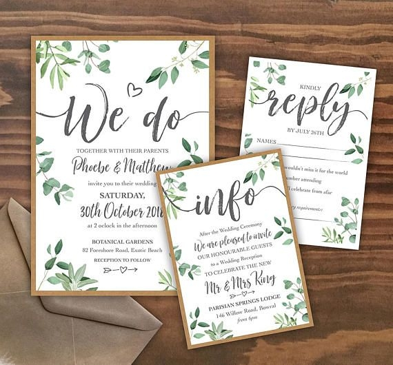 printable leafy wedding invitation pdfs custom designed Wedding Invitations Printed