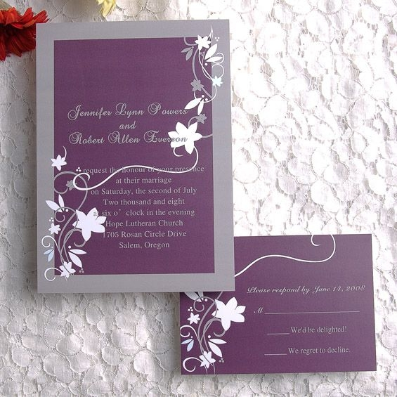 purple and gray country rustic wedding invitations with free Wedding Invites Purple
