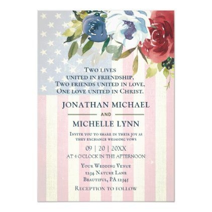 red white blue floral usa flag patriotic wedding invitation Wedding Invitation Usa