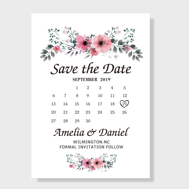 romantic peach flower save the date wedding cards pwis002 pro wedding invites Wedding Invitations Save The Date