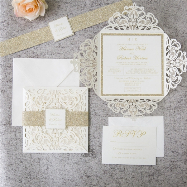 romantic white ivory laser cut wedding invitations with gold glitter belly band spring fall winter elegant wedding invitations wlc042 Lazer Cut Wedding Invitations