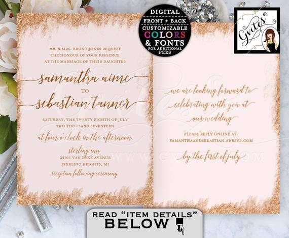 rose gold printable wedding invitation double sided 5x7 digital file only gvites Two Sided Wedding Invitations