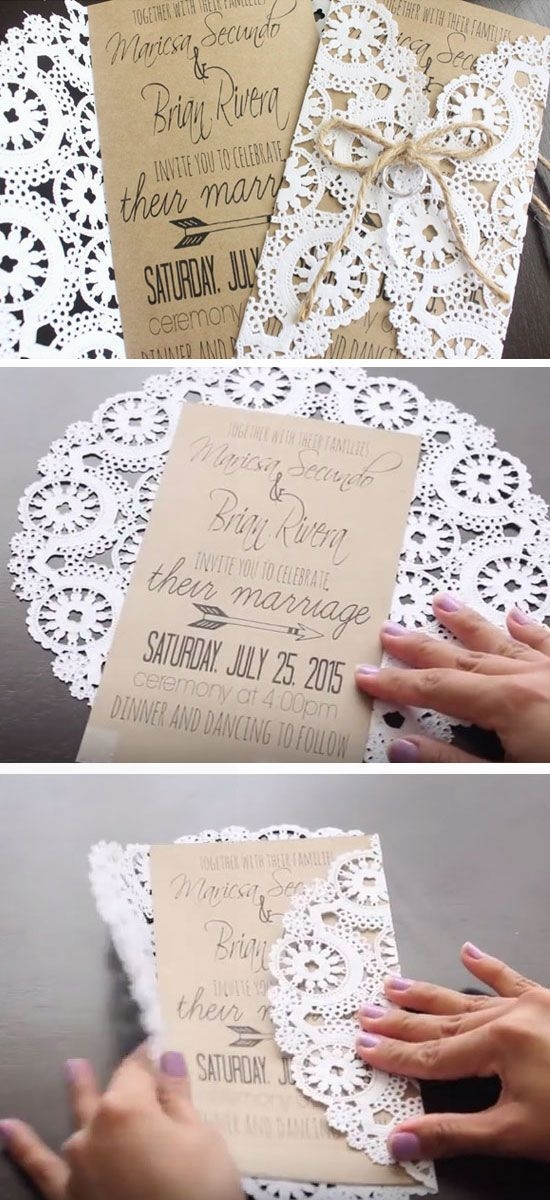 rustic doilies diy winter wedding invitations httpwww Dyi Wedding Invites
