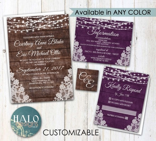 rustic lace wedding invitations burlap and lace Rustic Purple Wedding Invitations