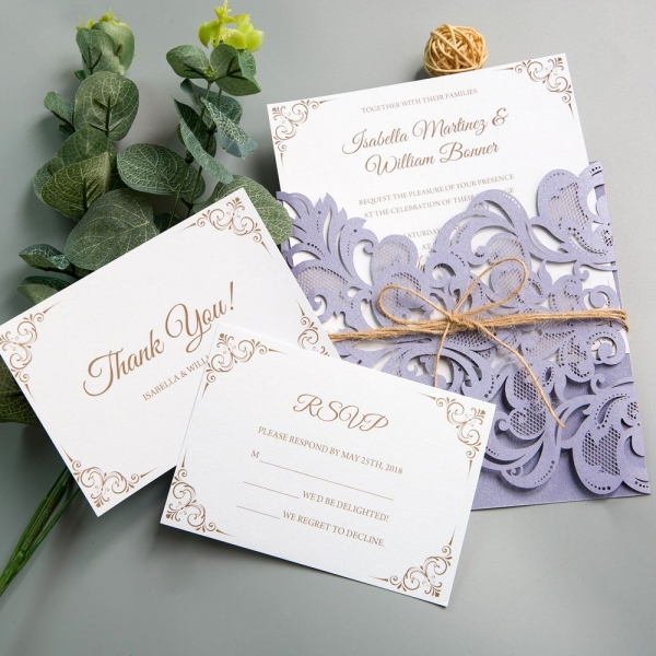 rustic lilaclavender laser cut wedding invitations with twine purple spring wedding colors cheap wedding invitations ws005 Rustic Purple Wedding Invitations