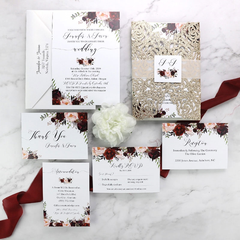 rustic marsala and blush floral rose gold wedding invitation set pwim002 pro wedding invites Wedding Invitations Photos