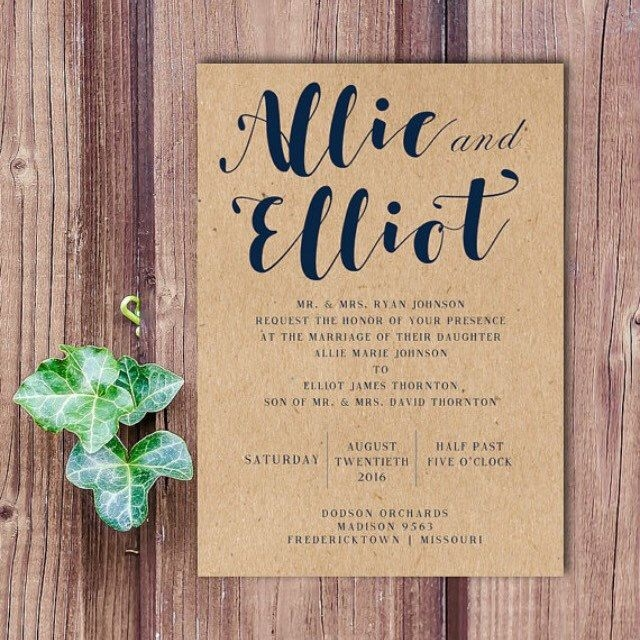 rustic navy blue wedding invitation on recycled brown paper Brown And Blue Wedding Invitations