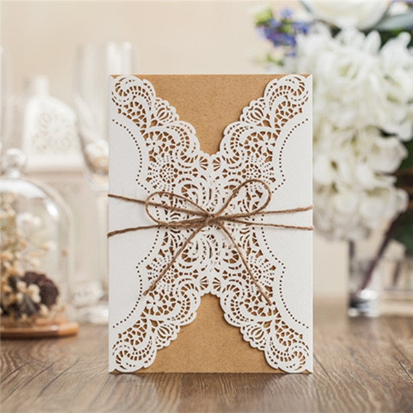 rustic white lace detailed wedding invitations with suede ribbon lc011 Lace Design Wedding Invitations