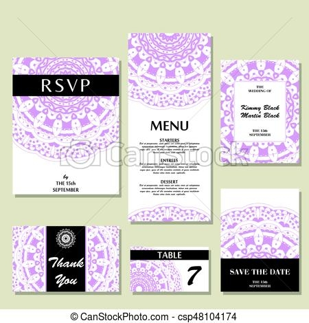 set of wedding invitations wedding cards template with individual concept design for invitation thank you card save the date card Individual Wedding Invitations
