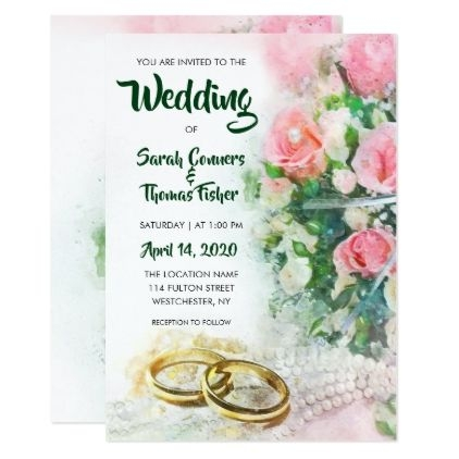 spring floral watercolor roses wedding invitation zazzle Wedding Invitations Westchester Ny