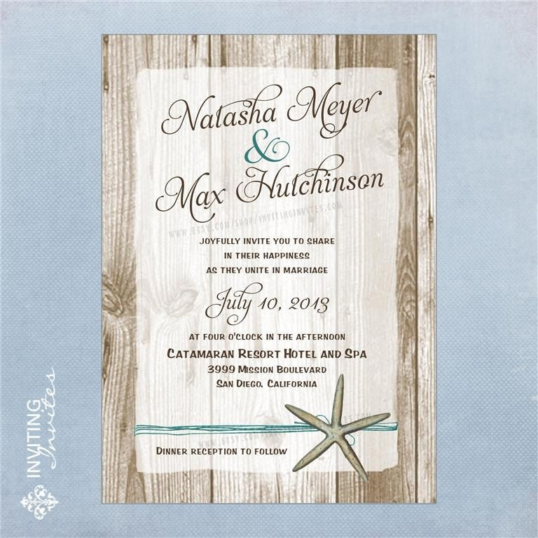 starfish wedding invitation destination beach wedding Casual Beach Wedding Invitations