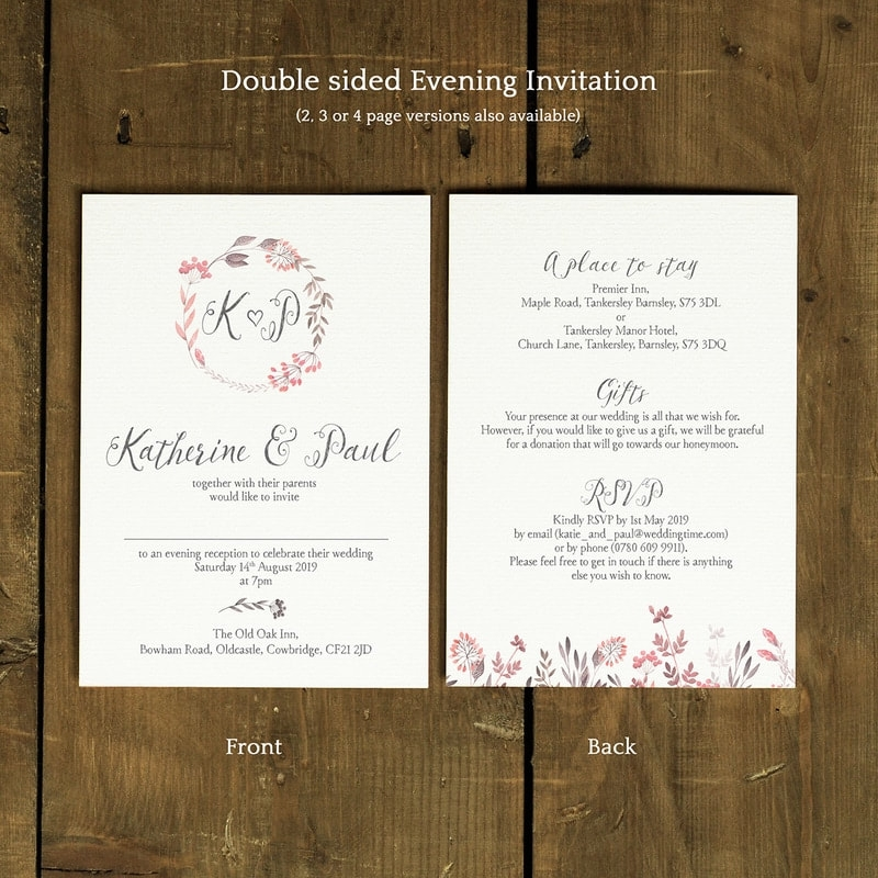 summer meadow wedding invitation feel good wedding invitations Two Sided Wedding Invitations