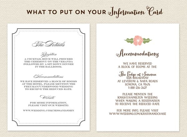 the information card or info card for short is a great way What To Include In Your Wedding Invitations
