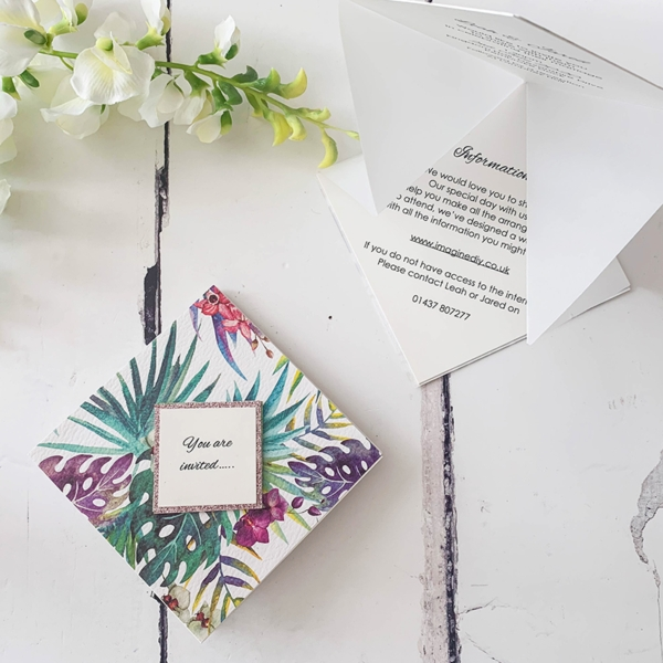 tropical orchid paper Origami Wedding Invitations