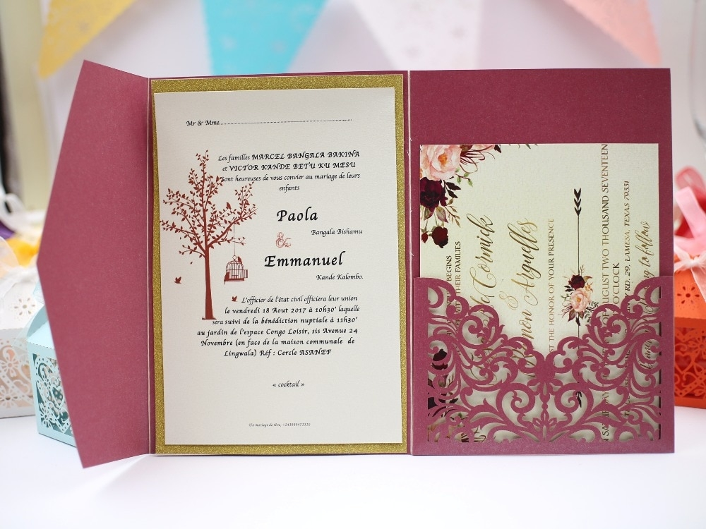 us 163 9 off1pcs sample elegant floral tri fold laser cutting wholesale wedding invitation cards rc118 302card cardcard cutcard invitation Sample Wedding Invitation Cards
