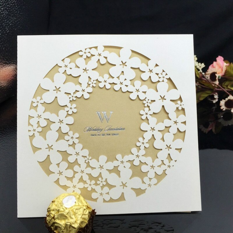 us 1679 30 off30 pc laser cut flowers lace design wedding invitation cards with inner blank paper for marriage birthday party supplies Lace Design Wedding Invitations