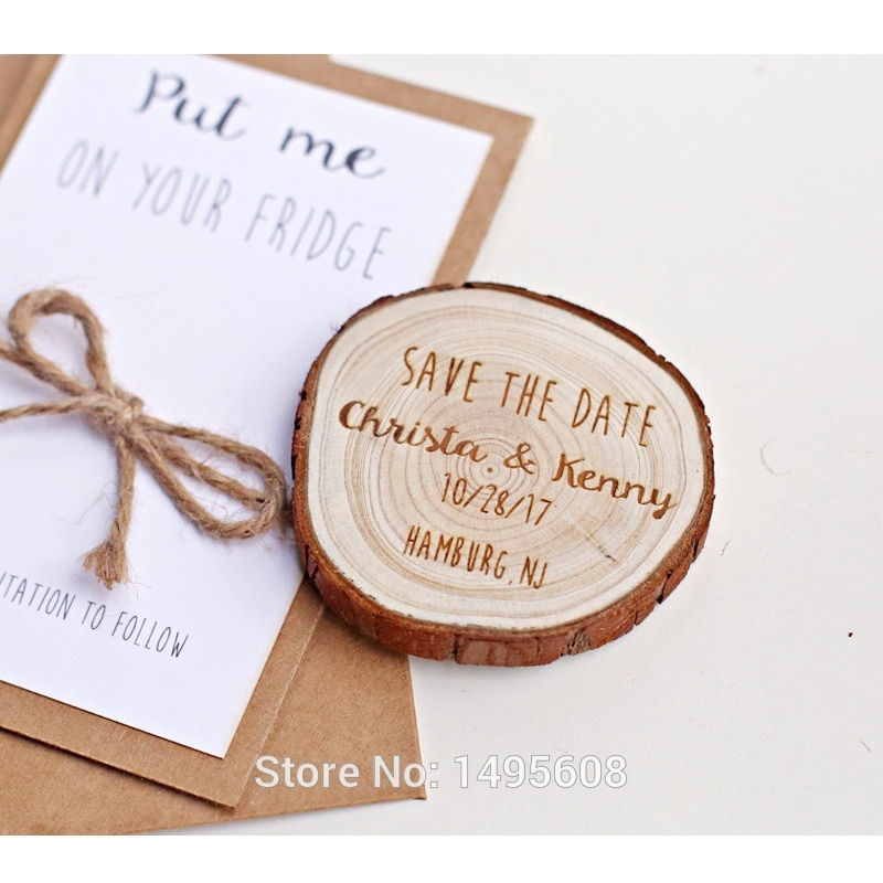 us 689 31 offpersonalized save the date magnets custom save the date magnets for guests rustic wood slice magnetwedding invitationsparty Wedding Invite Magnets
