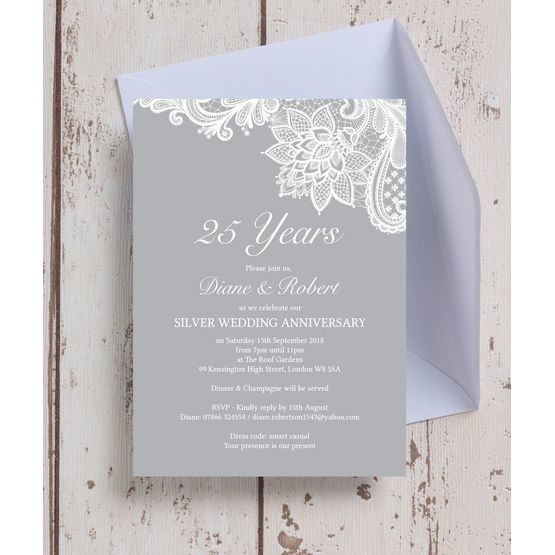 vintage lace themed 25th silver wedding anniversary invitation 25th Silver Wedding Anniversary Invitations