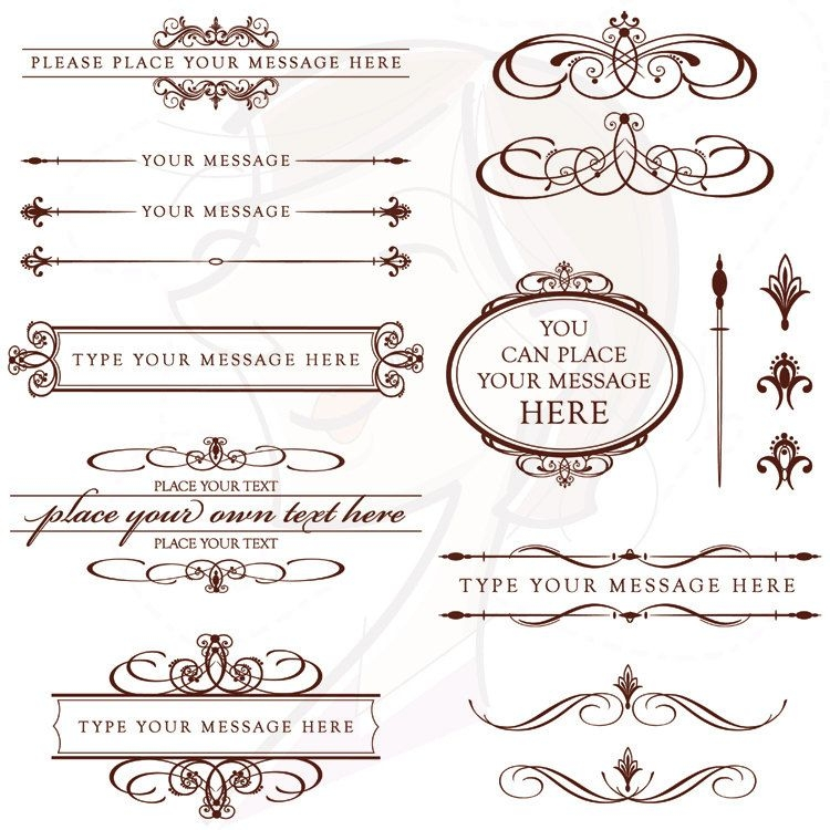 vintage wedding invitation clip art chocolate dark brown Wedding Invitation Decorations