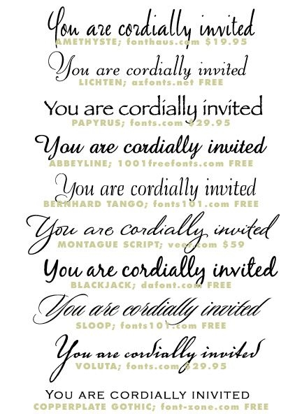 wedding invitation typeface and font sources invitation Font Styles For Wedding Invitations