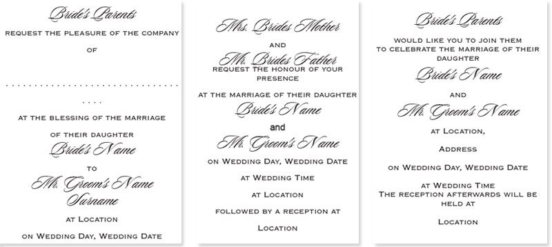 wedding invitation wording what to write templates examples What Goes Inside A Wedding Invitation