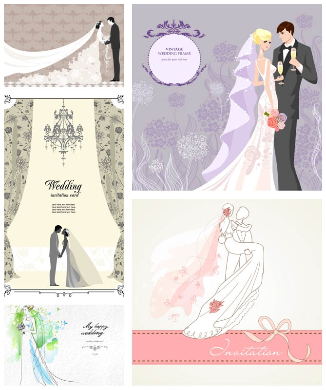 wedding invitations with bride and groom vector vector Wedding Invitation With Pictures Of Bride And Groom