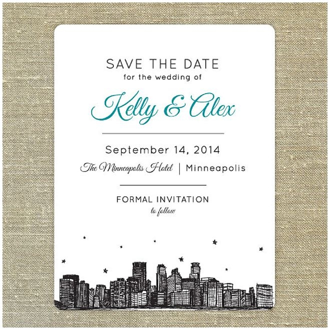 welcome your guests to minneapolis with a skyline invite Wedding Invitations Minneapolis