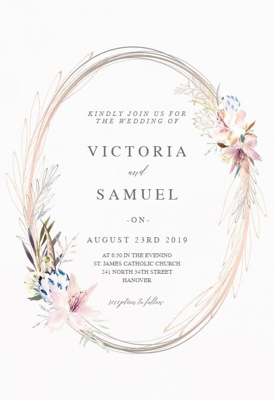 whimsical wreath wedding invitation template greetings Wedding Invitation Templets