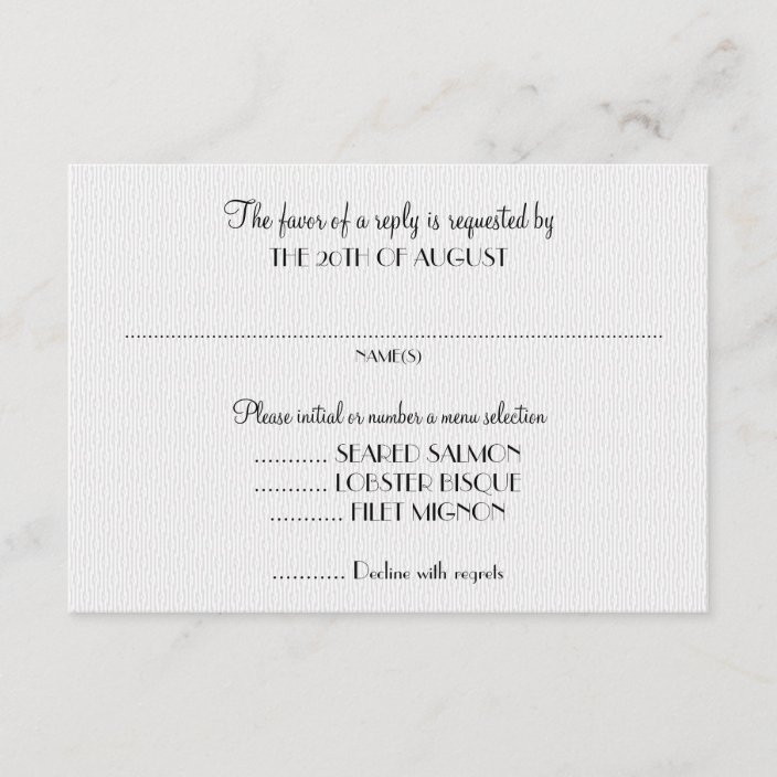 white wedding invitation reply cards with menu zazzle Wedding Invitations Response Cards
