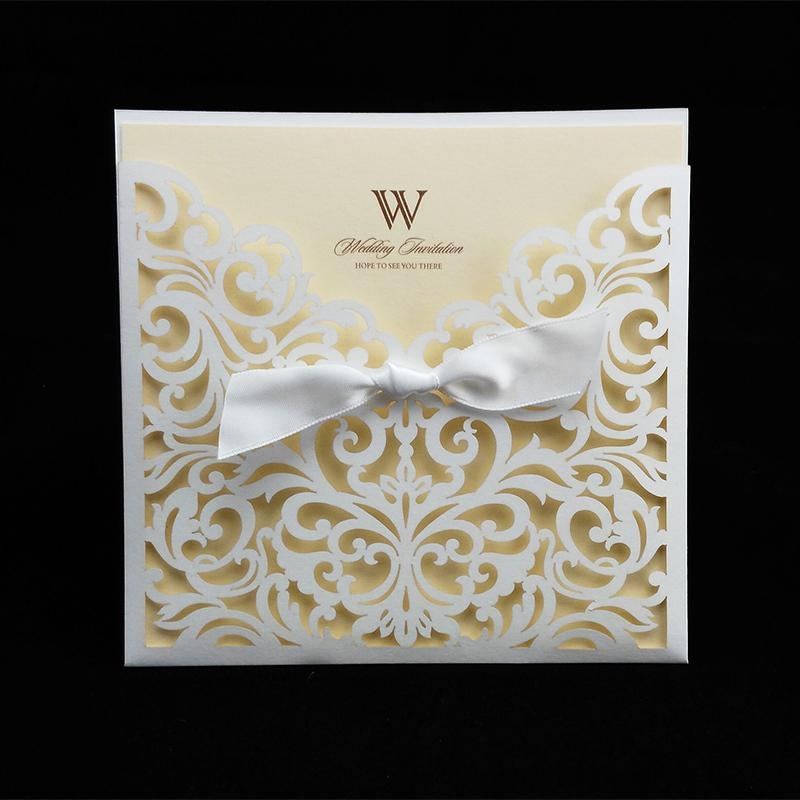 wholesale sample card laser cut wedding invitations with ribbon blank inner sheet invitation cards for party birthday supply romantic birthday cards Sample Wedding Invitation Cards