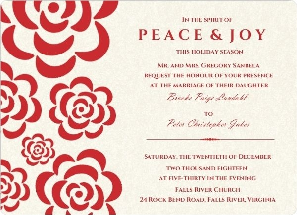 winter wedding invitation wording winter wonderland Christmas Wedding Invitation Wording