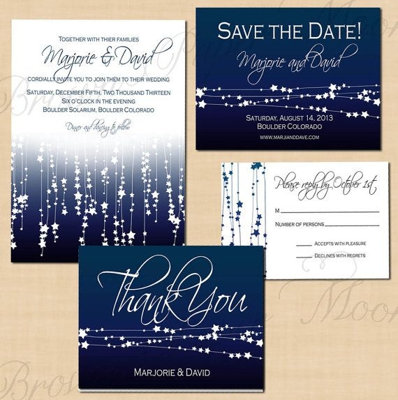 Interesting star streamers printable save the date invitation rsvp Wedding Save The Date And Invitation Packages Design
