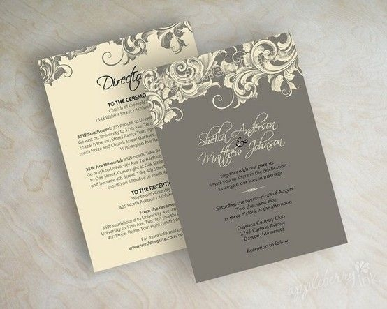 New vintage victorian wedding invitations with filigree pattern Filigree Wedding Invitations