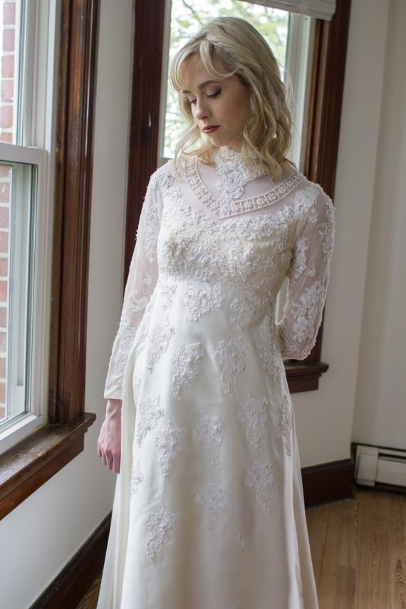 vintage 1970s designer priscilla of boston wedding gown long sleeves beaded chantilly lace size xs petite Priscilla Of Boston Wedding Dress Ideas