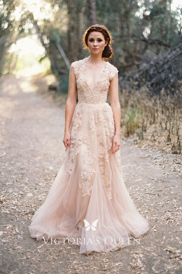 Cool blush lace tulle plunging v neck trumpet wedding gown Lace Tulle Wedding Dress