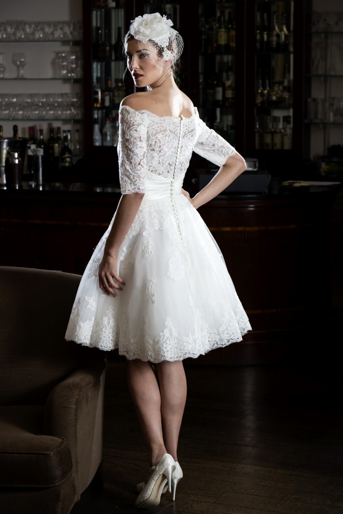 Interesting 25 of the most beautiful tea length short wedding dresses Beautiful Short Lace Wedding Dresses With Sleeves