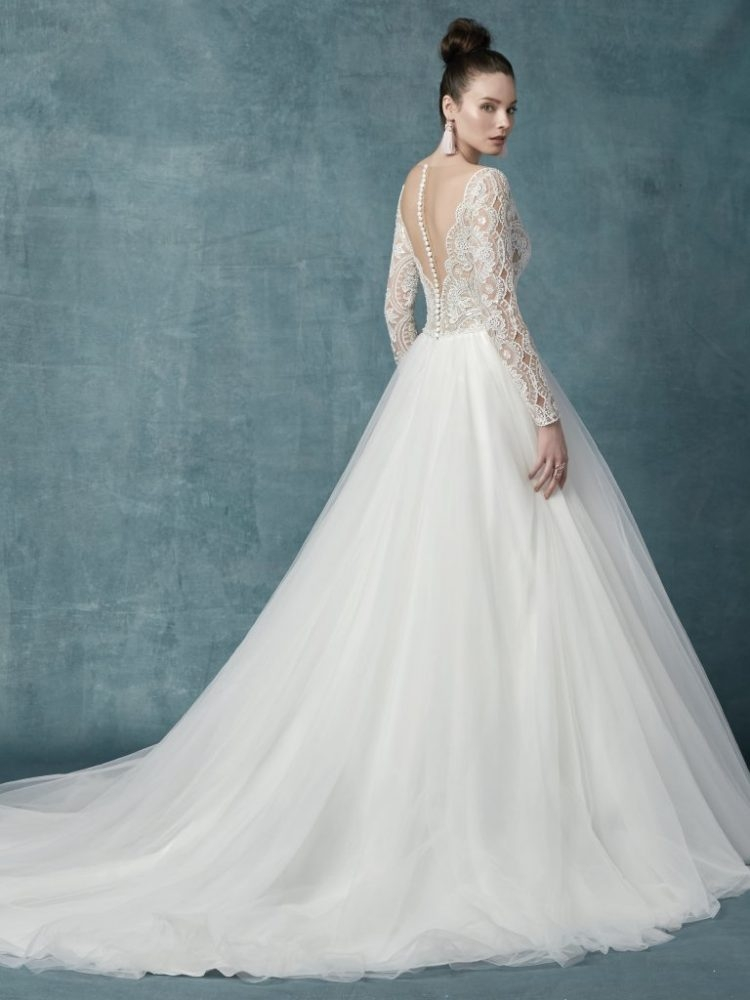 long sleeve lace tulle ball gown wedding dress Lace Tulle Wedding Dress