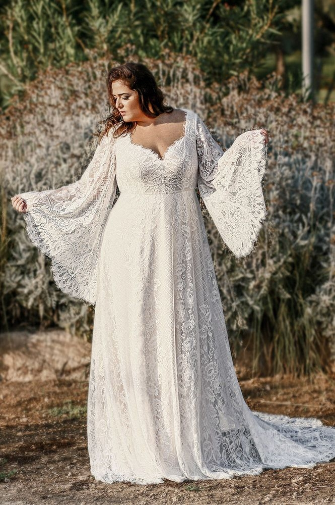 Modern curvy babe plus size wedding gowns studio levana couture Pretty Beach Wedding Dresses Plus Size Designs