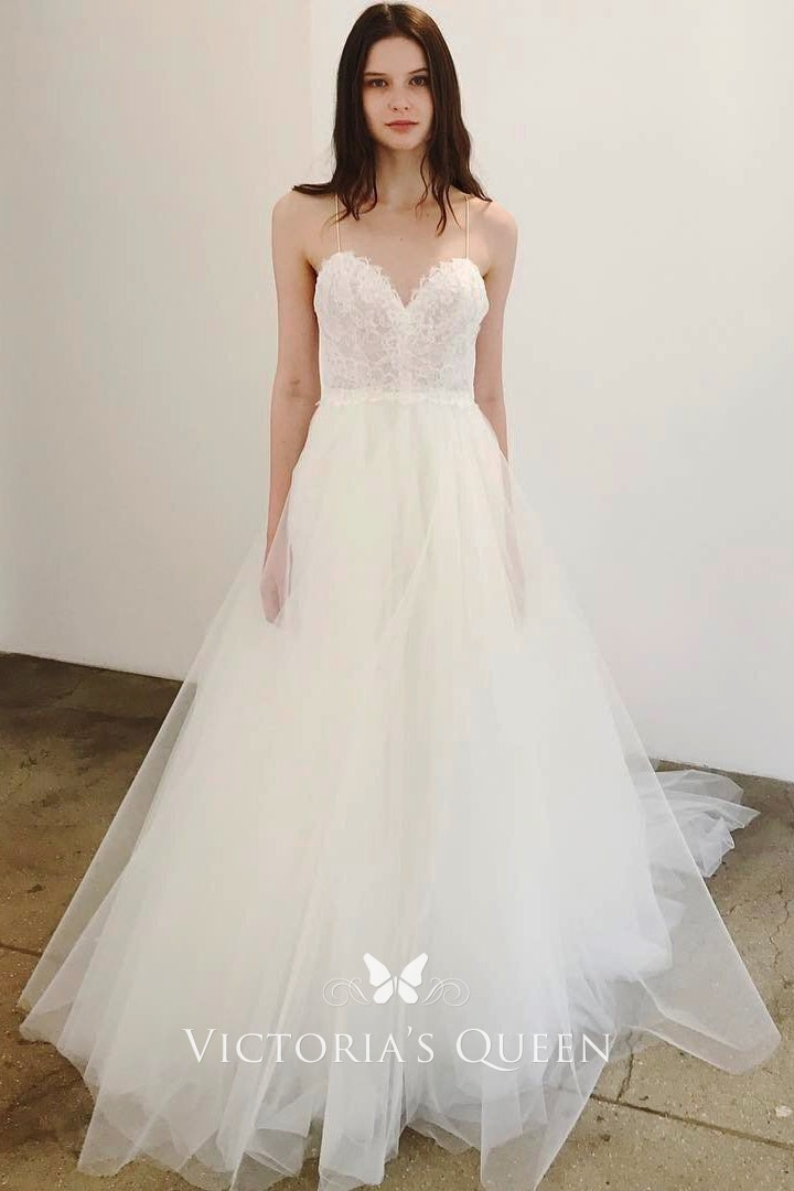 Modern spaghetti straps white lace and tulle wedding dress Lace Tulle Wedding Dress