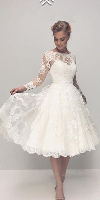 New 500 wedding dresses short and tea length ideas in 2020 Beautiful Short Lace Wedding Dresses With Sleeves