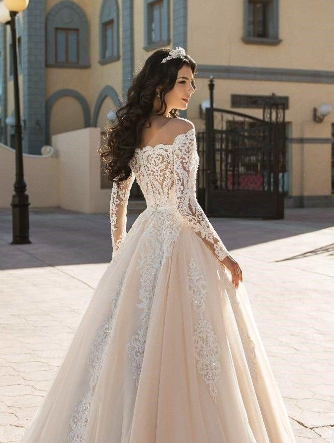 New lace wedding dress with corset an off shoulder and long lace Cute Lace Bodice Wedding Dresses